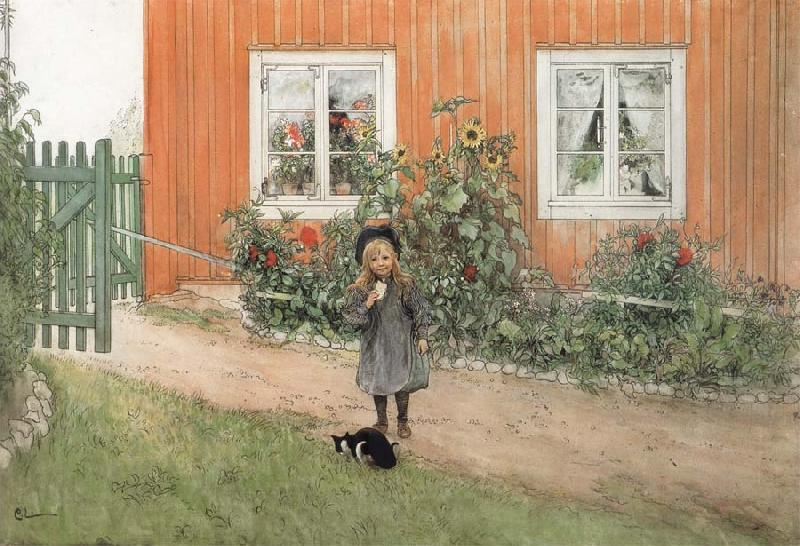 Carl Larsson Brita,a Cat and a Sandwich
