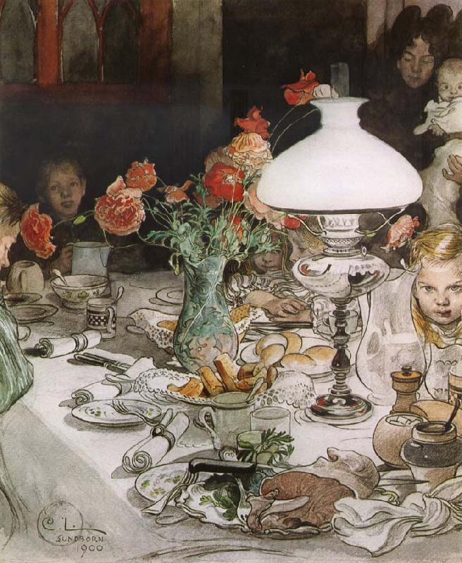Carl Larsson Around the Lamp at Evening