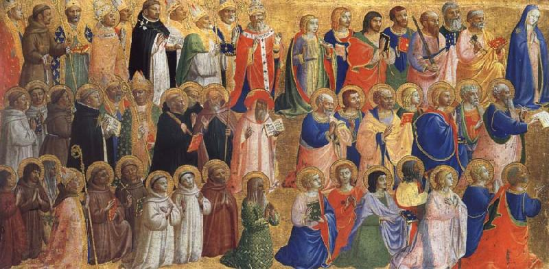 Fra Angelico The Virgin mary with the Apostles and other Saints