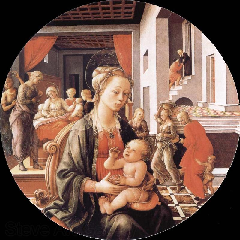 Fra Filippo Lippi Madonna and Son with histories of the life of Holy Ana