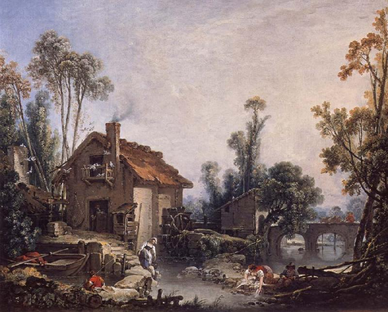 Francois Boucher Landscape with a Watermill