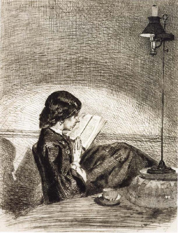 James Abbott McNeil Whistler Reading by Lamplight