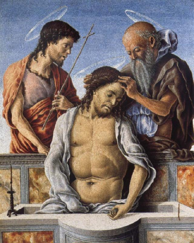 Marco Zoppo THe Dead Christ with Saint John the Baptist and Saint Jerome
