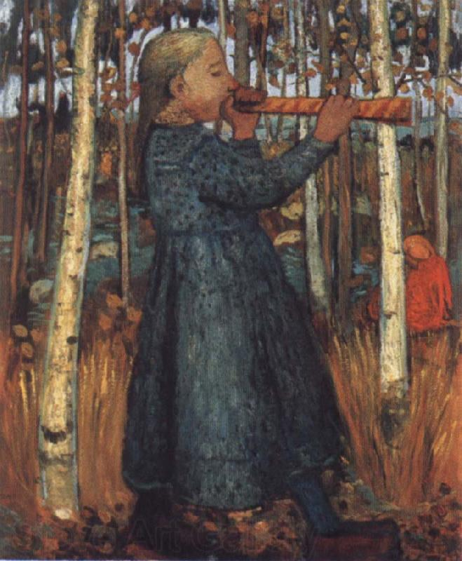 Paula Modersohn-Becker Trumpeting Gril in a Birch Wood