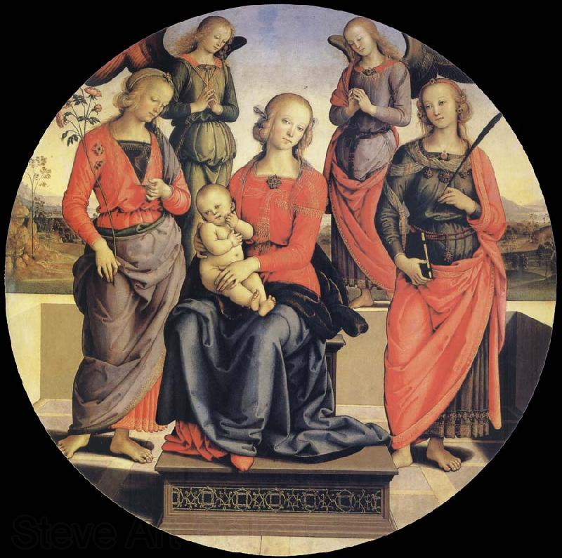 Pietro vannucci called IL perugino The Virgin and the Nino acompanados for two angeles, Holy Rose and Holy Catalina