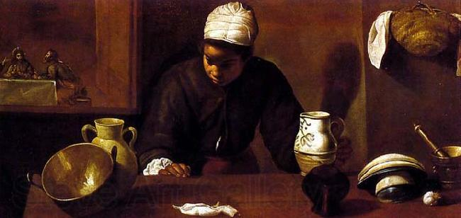 VELAZQUEZ, Diego Rodriguez de Silva y Kitchen Scene with the Supper in Emmaus