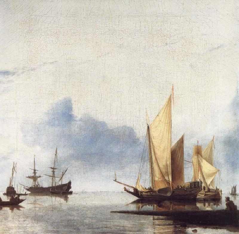 unknow artist A Dutch Yacht and Other Vessels Becalmed Near the Shore