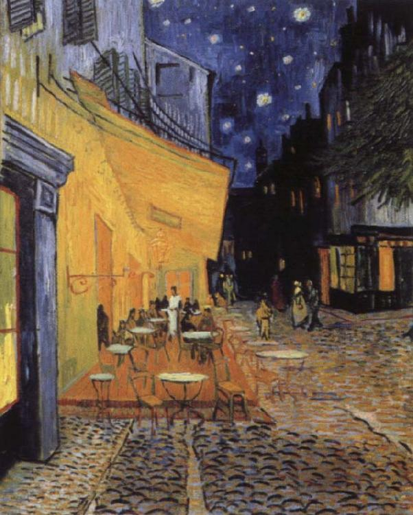 Vincent Van Gogh cafe terrace at the Place you forum in Arles in night
