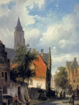 unknow artist European city landscape, street landsacpe, construction, frontstore, building and architecture. 327