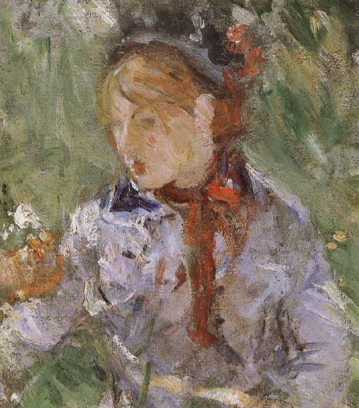 Berthe Morisot Detail of  The woman and children are in the park
