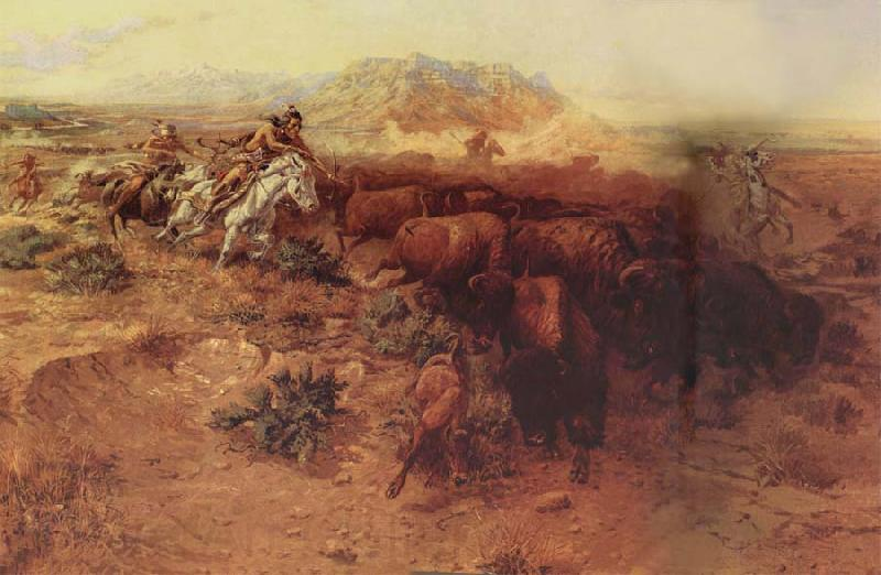 Charles M Russell The Buffalo hunt