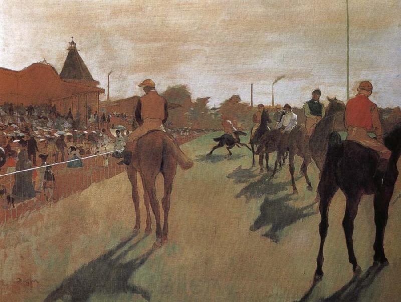 Edgar Degas a group of Racehorse