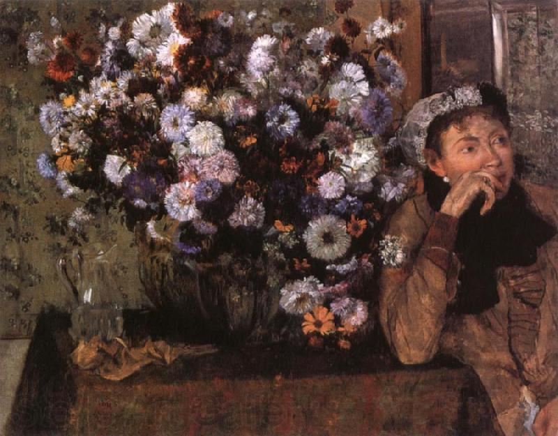 Edgar Degas A Woman seated beside a vase of flowers