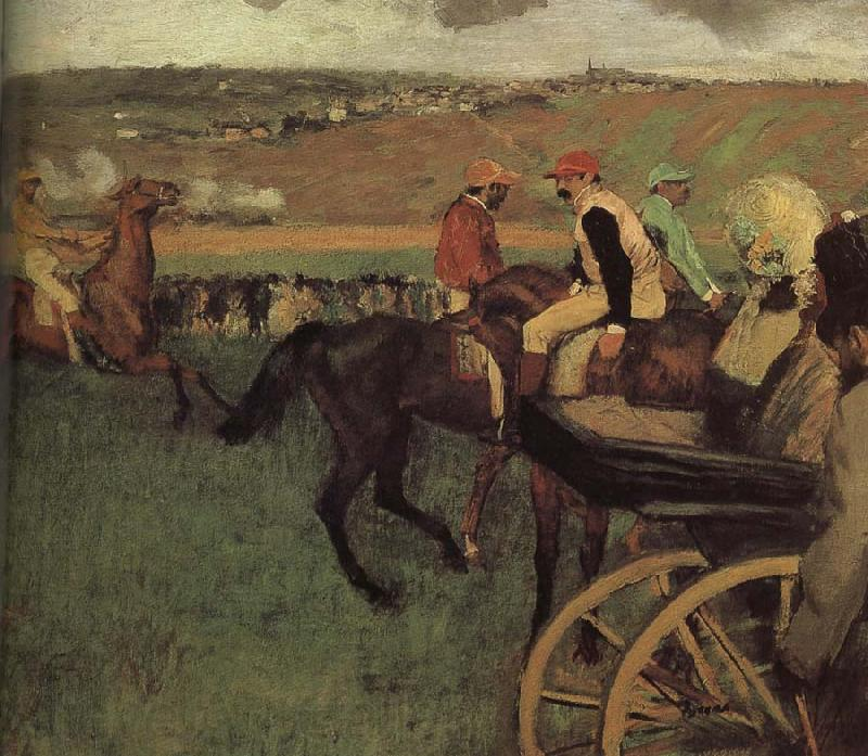 Edgar Degas amateurish caballero on horse-race ground
