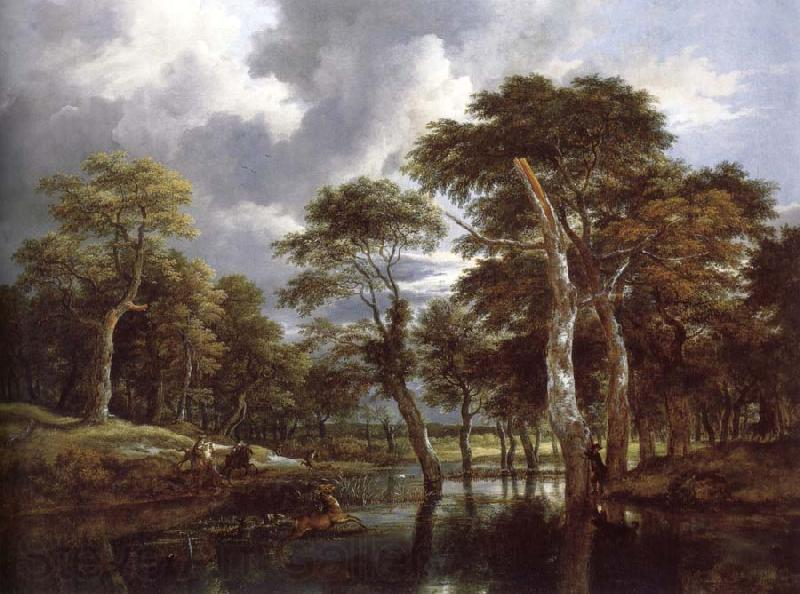 Jacob van Ruisdael Waterfall in a Hilly Wooded Landscape