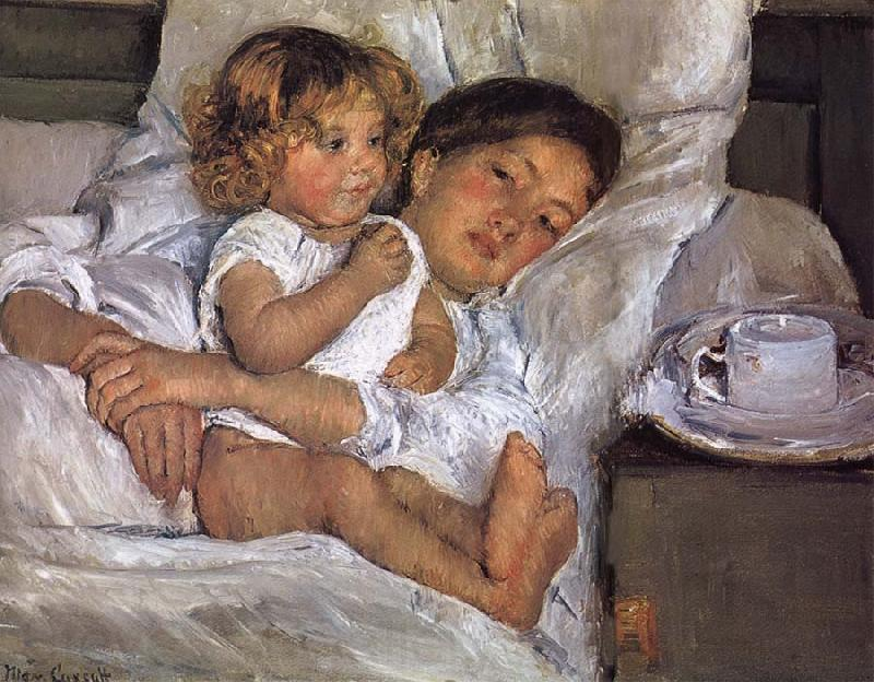 Mary Cassatt Breakfast on bed