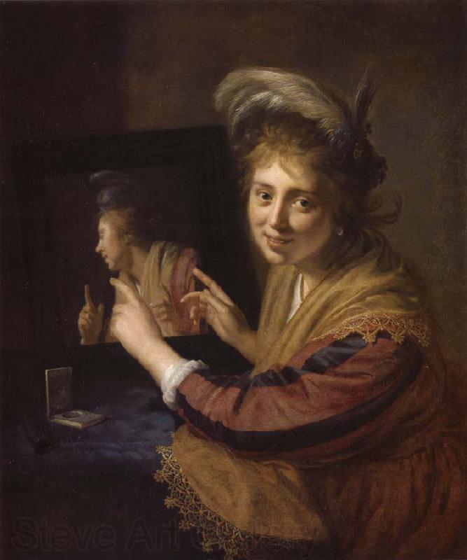 REMBRANDT Harmenszoon van Rijn Girl at a Mirror