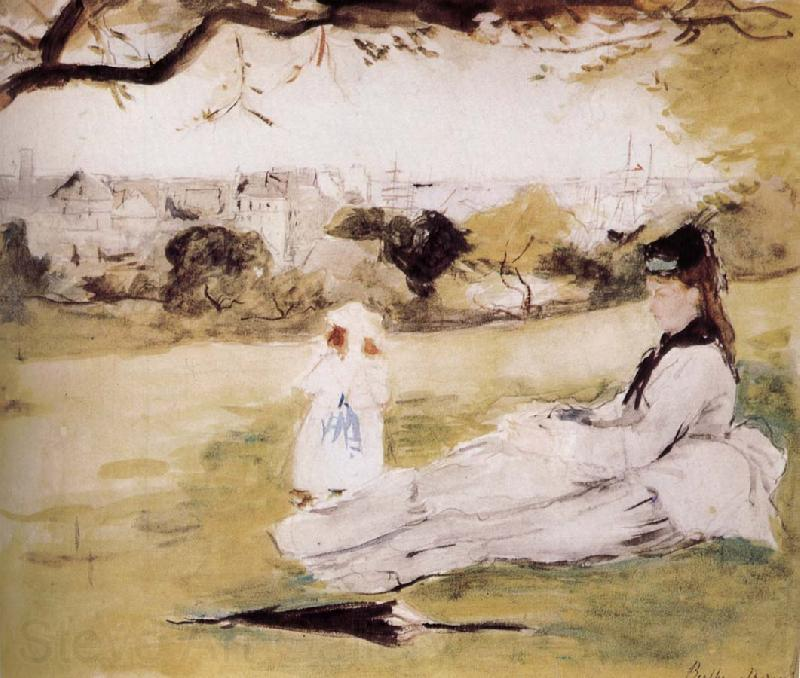 Berthe Morisot The mother and her child on the meadow