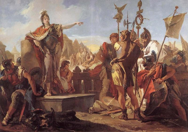 Giovanni Battista Tiepolo Queen Zenobia talk to their soldiers