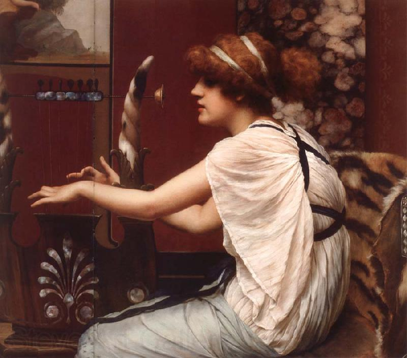 John William Godward The Muse Erato at Her Lyre