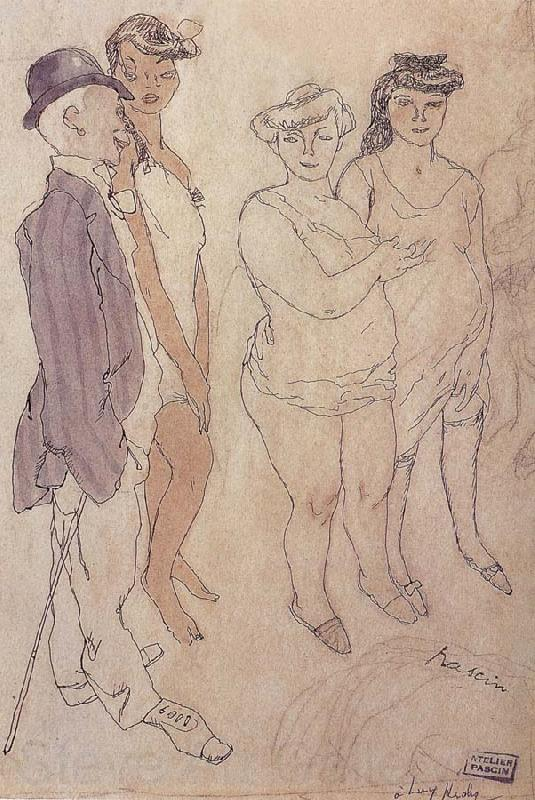 Jules Pascin One man and three woman