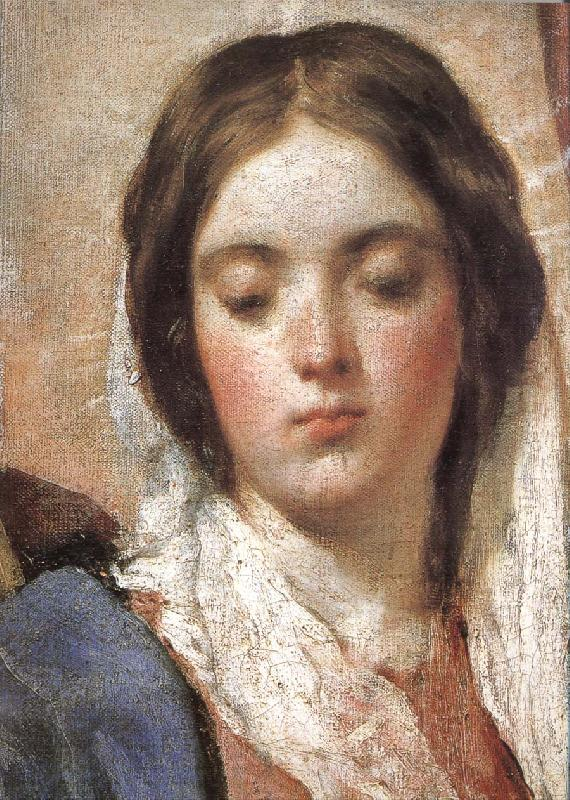 VELAZQUEZ, Diego Rodriguez de Silva y Detail of  Virgin Mary wearing the coronet