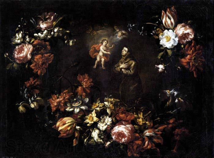 unknow artist Garland of Flowers with St Anthony of Padua