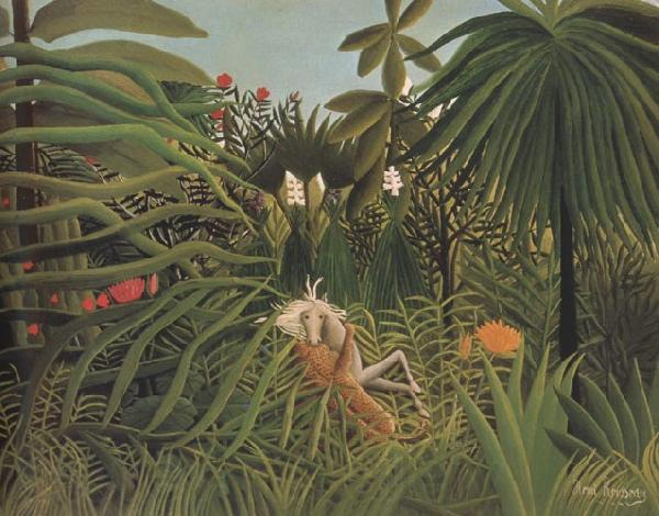 Henri Rousseau Fight Between a Jaguar and a Horse