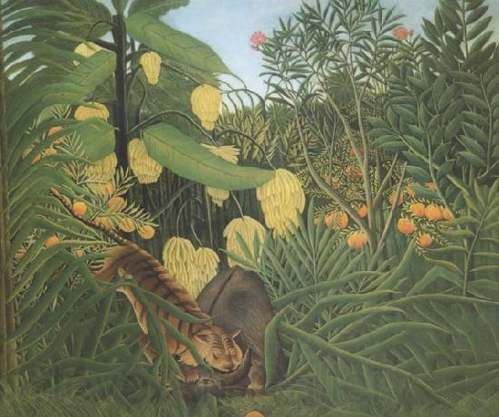 Henri Rousseau Fight Between Tiger and Buffalo
