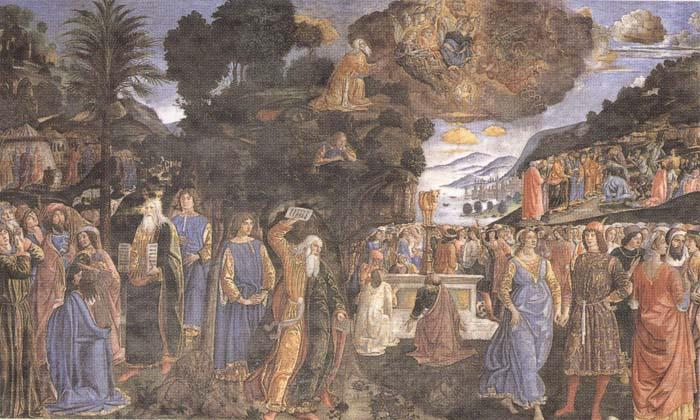 Sandro Botticelli Cosimo Rosselli and Assistants,Moses receiving the Tablets of the Law and Worship of the Golden Calf