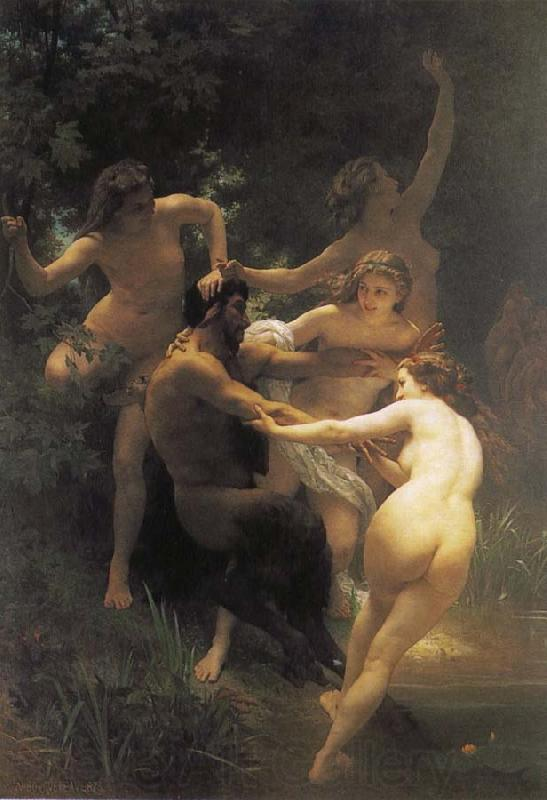 Adolphe William Bouguereau The god of the forest with their fairy