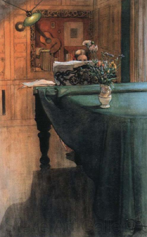 Carl Larsson brita at the piano