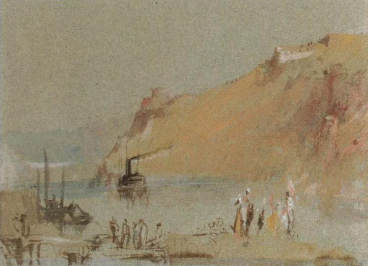 J.M.W. Turner river scene with steamboat