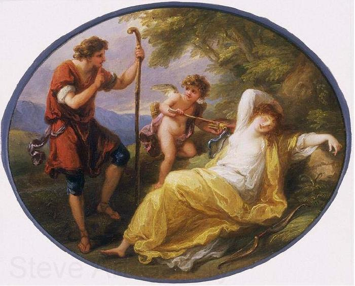 Angelica Kauffmann A Sleeping Nymph Watched by a Shepherd