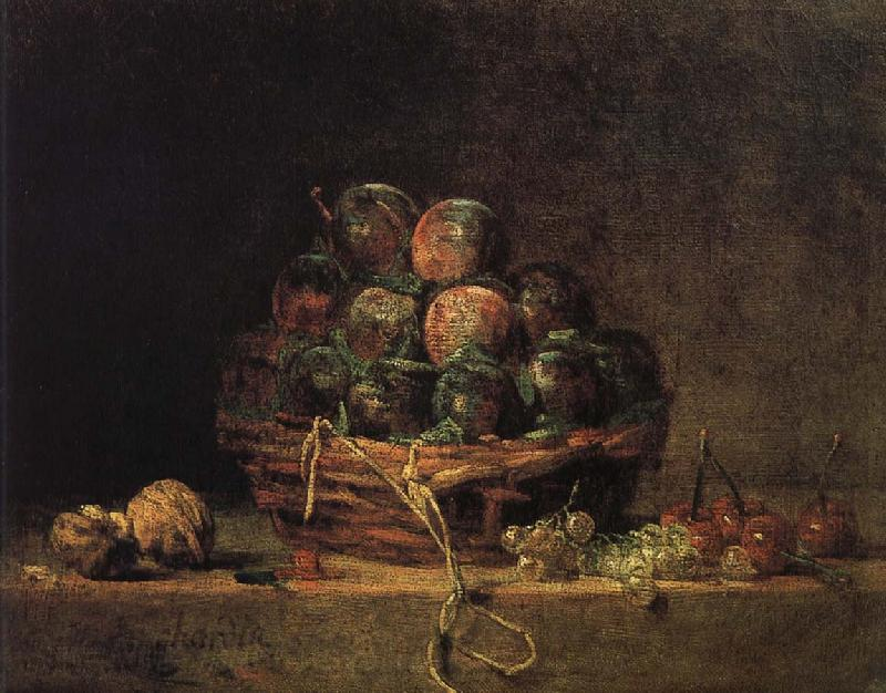 Jean Baptiste Simeon Chardin Walnut and fitted with a basket of plums cherry red millet vinegar