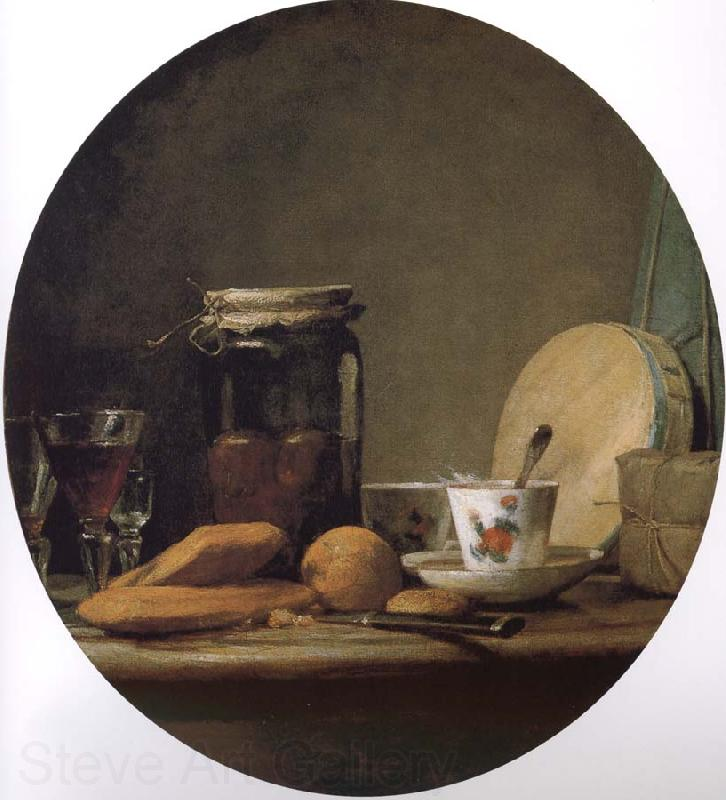 Jean Baptiste Simeon Chardin Equipped with a jar of apricot glass knife still life, etc.
