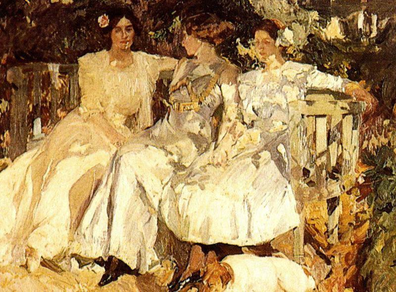 Joaquin Sorolla My Wife and Daughters in the Garden,