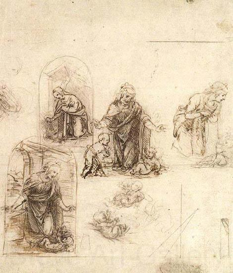 Leonardo  Da Vinci Studies for a Nativity