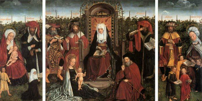 unknow artist Triptych with the Family of St Anne