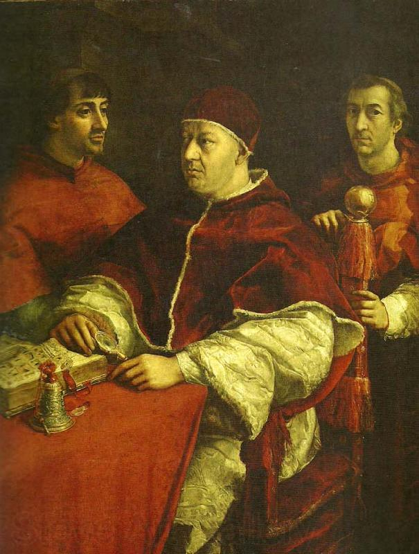 Raphael pope leo x with cardinals giulio de'
