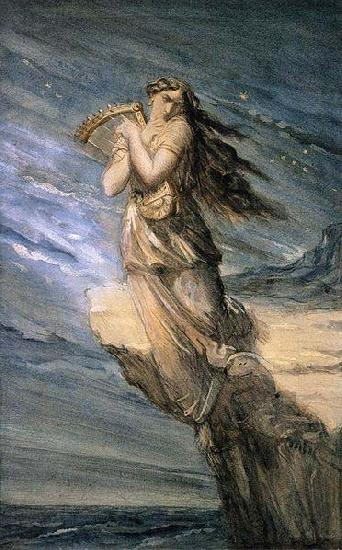 Theodore Chasseriau Sappho Leaping into the Sea from the Leucadian Promontory