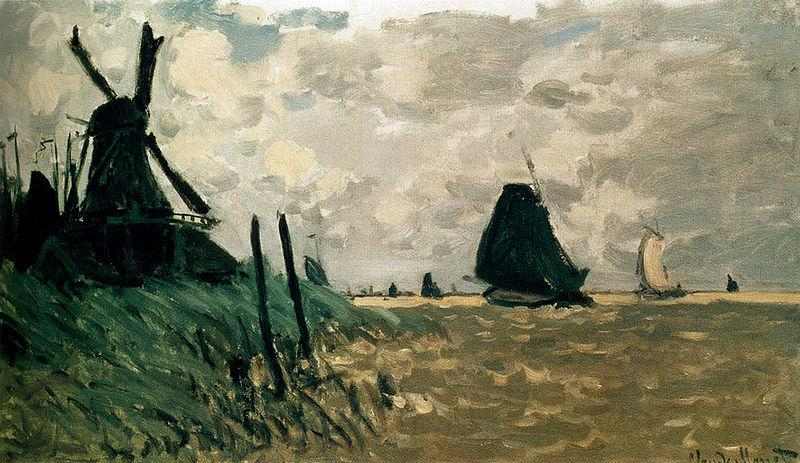 Claude Monet A Windmill Near Zaandam