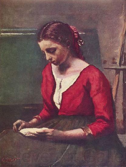 Jean-Baptiste-Camille Corot Lesendes Madchen in rotem Trikot