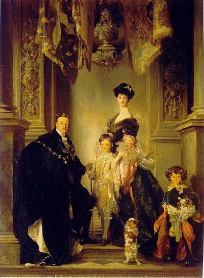 John Singer Sargent Portrait of the 9th Duke of Marlborough with his family