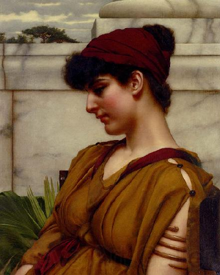 John William Godward A Classical Beauty In Profile