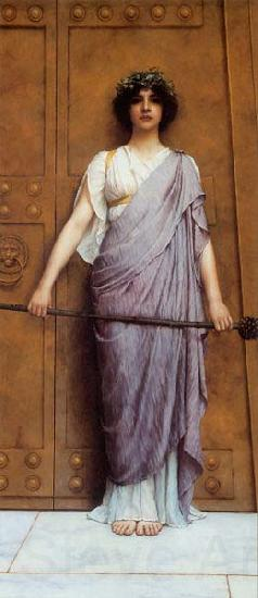 John William Godward At the Gate of the Temple