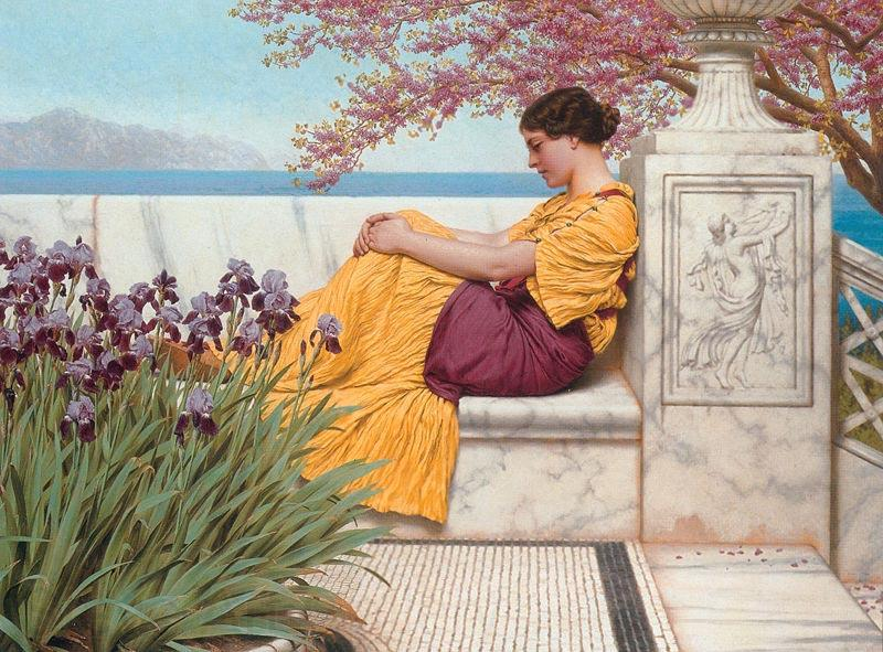 John William Godward Under the Blossom that Hangs on the Bough