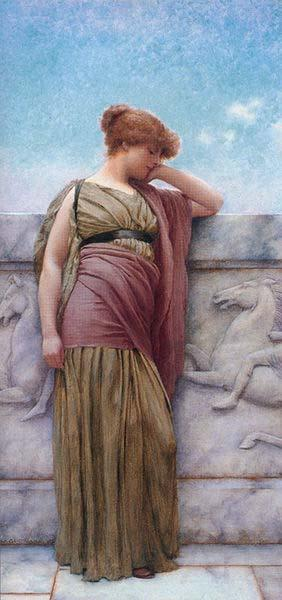 John William Godward Godward Leaning on the Balcony
