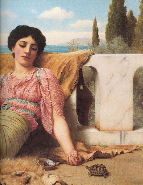 John William Godward A Quiet Pet detail