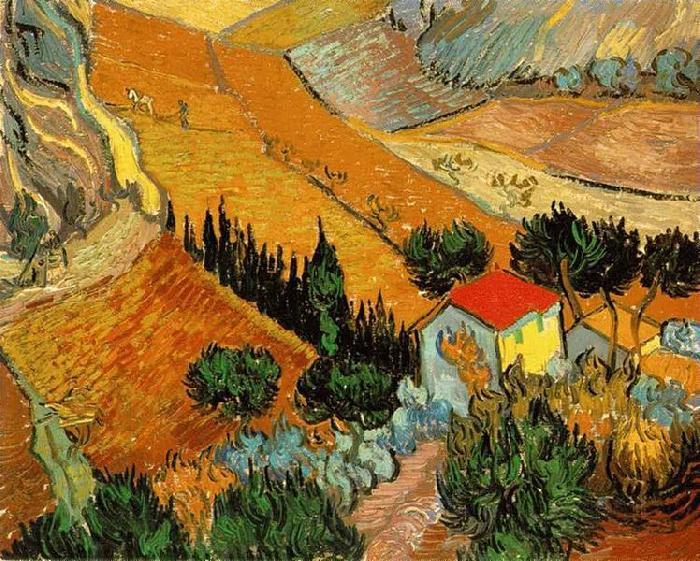 Vincent Van Gogh Valley with Ploughman Seen from Above